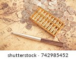 coins  pens  maps  commercial... | Shutterstock . vector #742985452