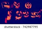 glowing in the dark spooky jack ... | Shutterstock . vector #742987795