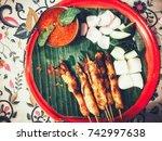 chicken satay  | Shutterstock . vector #742997638