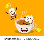 cute cartoon cup of tea with... | Shutterstock .eps vector #743002012