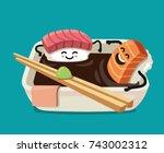 sushi fun character in bath...   Shutterstock .eps vector #743002312