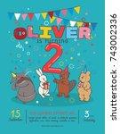 invitation card for children's... | Shutterstock .eps vector #743002336