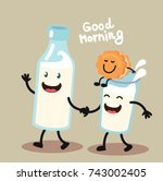 cute and funny cookie and milk. ... | Shutterstock .eps vector #743002405