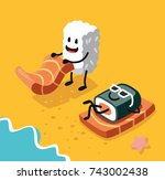 sashimi happy and sushi in... | Shutterstock .eps vector #743002438
