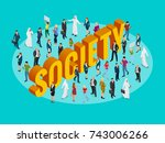 society isometric background... | Shutterstock .eps vector #743006266