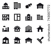 16 vector icon set   cottage ... | Shutterstock .eps vector #743007772