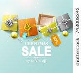 modern christmas sale flyer... | Shutterstock .eps vector #743008342