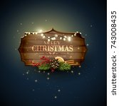 christmas background with... | Shutterstock .eps vector #743008435