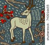 christmas deer in winter forest.... | Shutterstock .eps vector #743016655