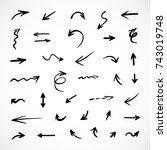 hand drawn arrows  vector set | Shutterstock .eps vector #743019748
