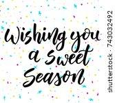 christmas calligraphy.... | Shutterstock .eps vector #743032492