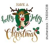 funny reindeer on white... | Shutterstock .eps vector #743034238