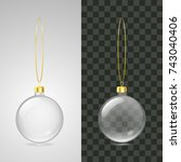 realistic christmas glass balls ... | Shutterstock .eps vector #743040406