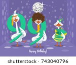 two goose holding the number 99....   Shutterstock .eps vector #743040796