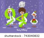 two goose holding the number 94....   Shutterstock .eps vector #743040832