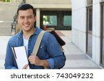 cute school boy outside... | Shutterstock . vector #743049232