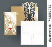 golden cutout envelope and... | Shutterstock .eps vector #743051752