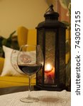 a glass of wine in a cold... | Shutterstock . vector #743057155