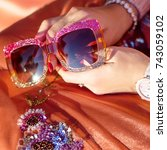 brilliant glasses in women's... | Shutterstock . vector #743059102