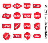 new sticker set. red promotion... | Shutterstock .eps vector #743062255