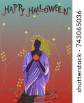 halloween poster.illustration... | Shutterstock .eps vector #743065036