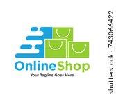 online shop logo design. vector ...   Shutterstock .eps vector #743066422