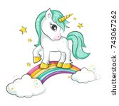 cute magical unicorn and... | Shutterstock .eps vector #743067262