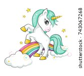 cute magical unicorn and... | Shutterstock .eps vector #743067268