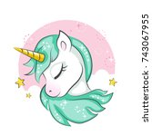 cute magical unicorn. vector... | Shutterstock .eps vector #743067955