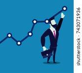 businessman climbing up on a...   Shutterstock .eps vector #743071936