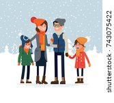 parents with children standing... | Shutterstock .eps vector #743075422