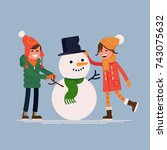 boy and girl making snowman.... | Shutterstock .eps vector #743075632