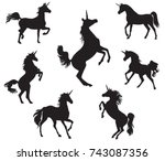 silhouettes of unicorns | Shutterstock .eps vector #743087356