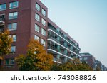 beautiful building with brick... | Shutterstock . vector #743088826