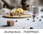 pieces of brown  sugars and... | Shutterstock . vector #743099665