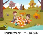 cartoon family having picnic in ... | Shutterstock .eps vector #743100982
