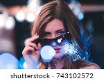 attractive young caucasian... | Shutterstock . vector #743102572