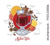 mulled wine in the glass and... | Shutterstock .eps vector #743110006