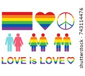 rainbow lgbt rights icons and... | Shutterstock .eps vector #743114476