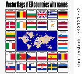vector set flags of eu... | Shutterstock .eps vector #743121772