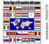 vector set flags of eu... | Shutterstock .eps vector #743121772