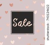 pink gold. sale. decorative... | Shutterstock .eps vector #743124622