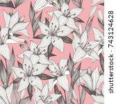 flowers. hand drawing. vector... | Shutterstock .eps vector #743124628