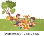 cartoon family having picnic in ...   Shutterstock .eps vector #743125432