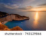 sunset scenery with sun disc... | Shutterstock . vector #743129866
