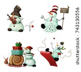 Set Of Four Merry Snowmen With...