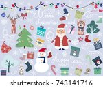 christmas animal happy new year ... | Shutterstock .eps vector #743141716