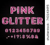 pink glitter alphabet numbers... | Shutterstock .eps vector #743143495