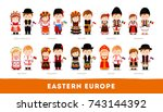 europeans in national clothes.... | Shutterstock .eps vector #743144392