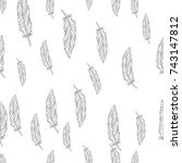 feather vector hand drawn...   Shutterstock .eps vector #743147812